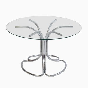 Italian Vintage Dining Table with Round Glass Top, 1970s