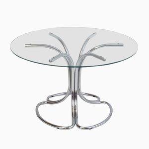 Mesa de comedor italiana vintage con tablero redondo de vidrio, años 70