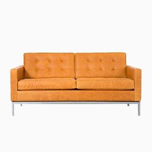 Sofá de cuero de Florence Knoll Bassett para Knoll, años 70