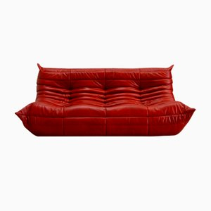Vintage Red Leather Togo Sofa by Michel Ducaroy for Ligne Roset