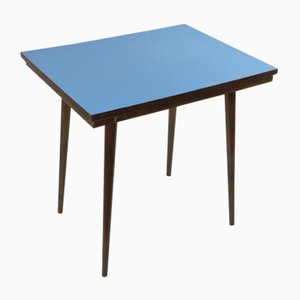 Mid-Century Czech Beech & Blue Formica Coffee Table from Tatra Nabytok