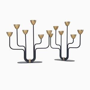 Candelabri in ottone e metallo di Gunnar Ander per Ystad-Metall, anni '50, set di 2