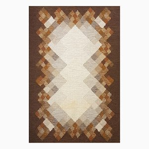 Swedish Brown Flat Weave Rölakan Carpet by Brita Svensson