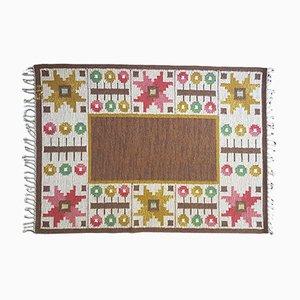 Alfombra Rölakan sueca vintage marrón de tejido plano de Astrid Sampe