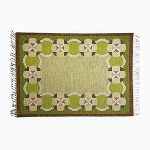 Schwedischer Grüner Vintage Rölakan Flachgewebe Teppich von Ingegerd Silow