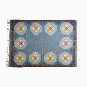 Schwedischer Blauer Vintage Rölakan Flachgewebe Teppich