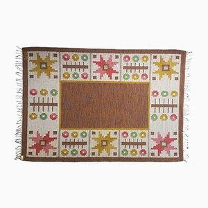 Alfombra Rölakan sueca vintage de tejido plano marrón de Astrid Sampe