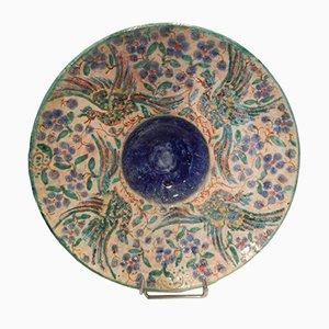 Plato de cerámica esmaltada vintage de Edouard Cazaux