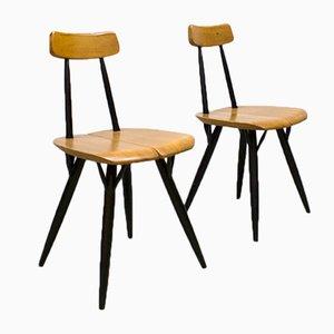Skandinavische Mid-Century Pirkka Esszimmerstühle von Ilmari Tapiovaara für Laukaan Puu, 2er Set