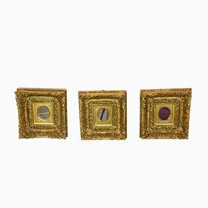 Espejos italianos Rococó antiguos dorados. Juego de 3