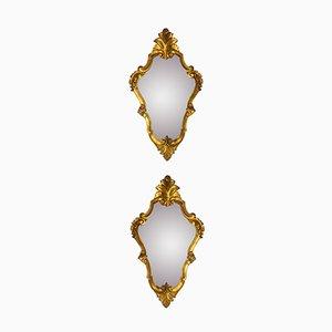 Espejos italianos vintage dorados. Juego de 2