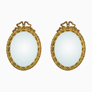 Antique Ribbon Shaped Gilded Mirrors, Set of 2