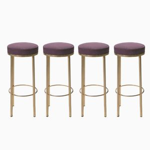 Brass Stools by Maison Romeo, 1970s, Set of 4