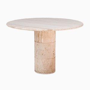 Belgischer Runder Travertine Tisch, 1970er