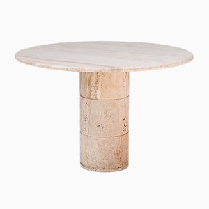 Table Ronde en Travertine, Belgique, 1970s