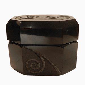 Boîte à Bonbons Noire en Verre Opaque par Jean Luce