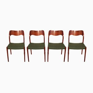 Model 71 Teak Chairs by N. O. Møller for J.L. Møllers Møbelfabrik, 1950s, Set of 4