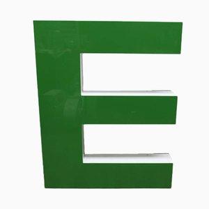 Letra E vintage grande verde