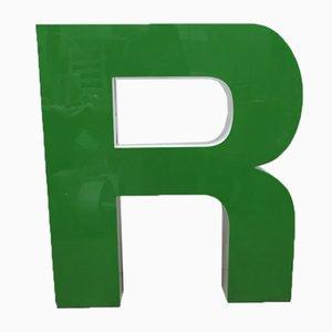 Lettera R grande vintage verde