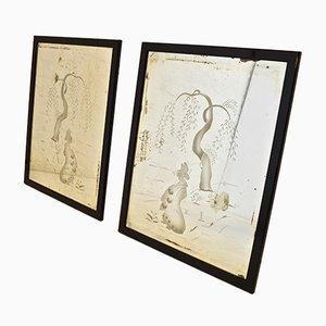 Geätzte Art Deco Spiegel mit Chinesischen Motiven, 1930er, 2er Set