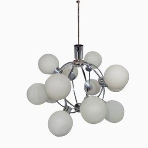 Lampada Sputnik Space Age con 12 sfere in vetro lattimo