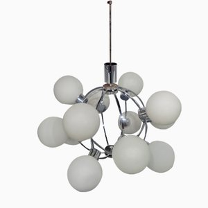 Lámpara Sputnik era espacial con 12 bolas de vidrio lechoso