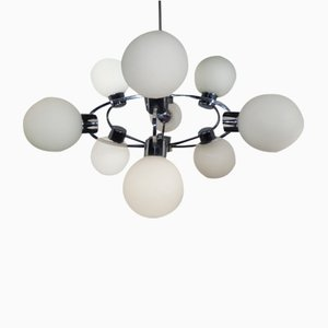 Lámpara Sputnik era espacial con 9 bolas de vidrio lechoso