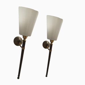 Französische Messing & Glas Wandlampen, 1950er, 2er Set