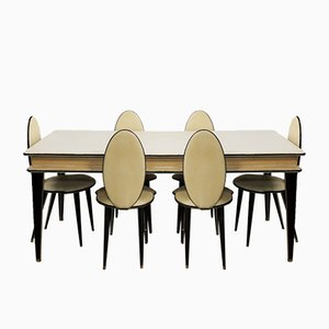 Mid-Century Dining Set by Umberto Mascagni for Harrods, 1950s, Set of 7