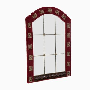 Antique Cut Glass Velvet Wall Mirror