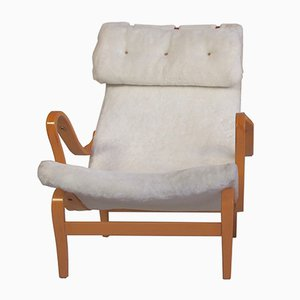 Mid-Century White Faux Fur Pernilla Chair by Bruno Mathsson for Dux, 1970s