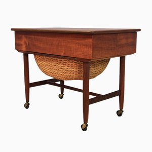 Danish Teak and Rattan Sewing Trolley, 1960s