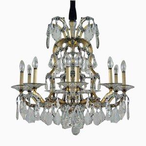 Lámpara de araña vienesa grande antigua de cristal de Lobmeyr