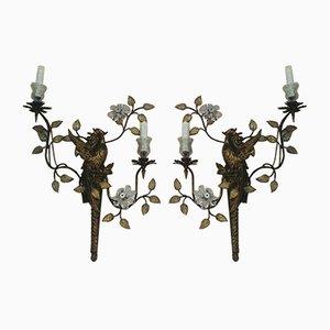 Antike Wandleuchten in Blumen Optik, 2er Set
