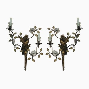 French Appliques with Floral Motifs from Maison Bagues, 1940s, Set of 2