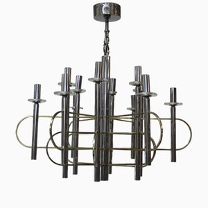 Sculptural Chandelier in Metal and Brass by Gaetano Sciolari, 1970s