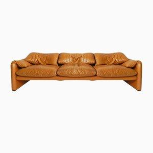 Vintage Maralunga Leder 3-Sitzer Sofa von Vico Magstretti für Cassina