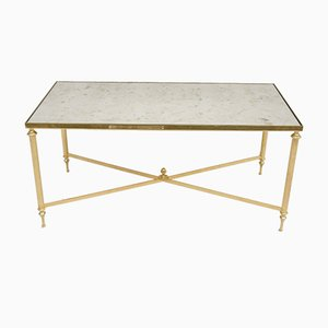 Coffee Table with White Marble Top and Polychrome Inlay from Maison Jansen, 1950s