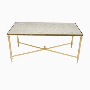 Esstisch mit eingelassener weißer Marmorplatte & Chrom-Intarsien von Maison Jansen, 1950er