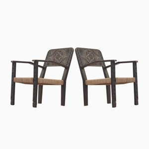 Art Deco French Carved & Ebonized Wood Easy Chairs, Set of 2