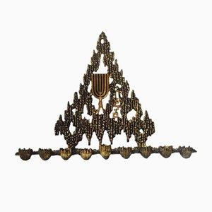 Bougeoir Hanukkah Menorah Brutaliste en Bronze de Wainberg, Israël, 1950s