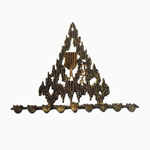 Israeli Brutalist Hanukkah Menorah Bronze Candle Holder from Wainberg, 1950s