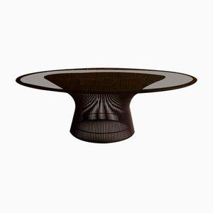 Mid-Century Couchtisch aus Stahldraht & Rauchglas von Warren Platner für Knoll