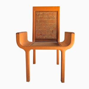 Tan Leather & Beech Armchair from John Makepeace, 1970s