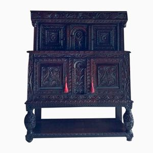 Antique Carved Oak Court Buffet, 1740s