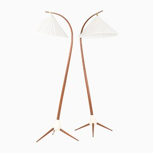 Teak Floor Lamps by Severin Hansen, 1950s, Set of 2
