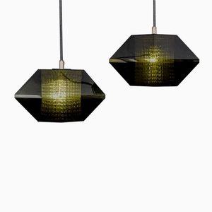 Lampade a sospensione esagonali di Carl Fagerlund per Orrefors, set di 2