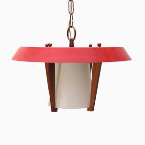 Lampada a sospensione vintage in metallo, legno e vetro, anni '50