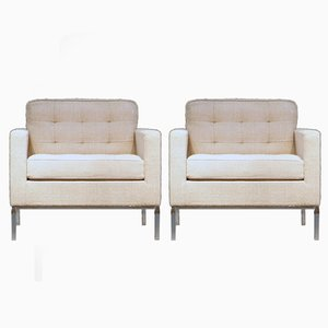 Cato Beige Wool Lounge Chairs by Florence Knoll for Knoll International, 1970s, Set of 2