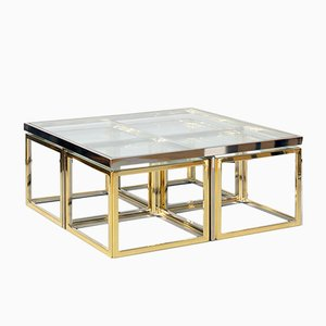 Vintage Bi-Colored Coffee Table with Nesting Tables from Maison Charles